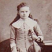 1890s Victorian Girl w/ Violin ~ Cabinet Card Photograph