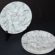 1940s Hazel Atlas ~ 4-Pc Black Drizzle Saucers