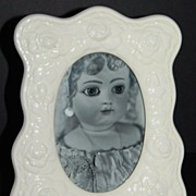 1989 Terragrafics ~ White Ceramic Rose Photo Frame
