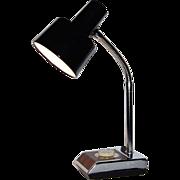 SALE 1970s Industrial Chrome & Faux Wood Gooseneck Lamp