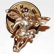 Vintage Goldtone Cherub Putti Tie Tac Pin  ~ Made in USA