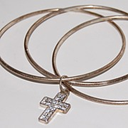 1980s Silverplate Bangles w/ Rhinestone Cross
