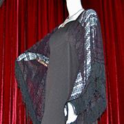 1960/70s Miss K ~ Black Crochet Batwing Maxi Dress