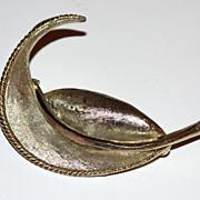 Vintage BSK ~ Heavy Silvertone Leaf Brooch/Pin