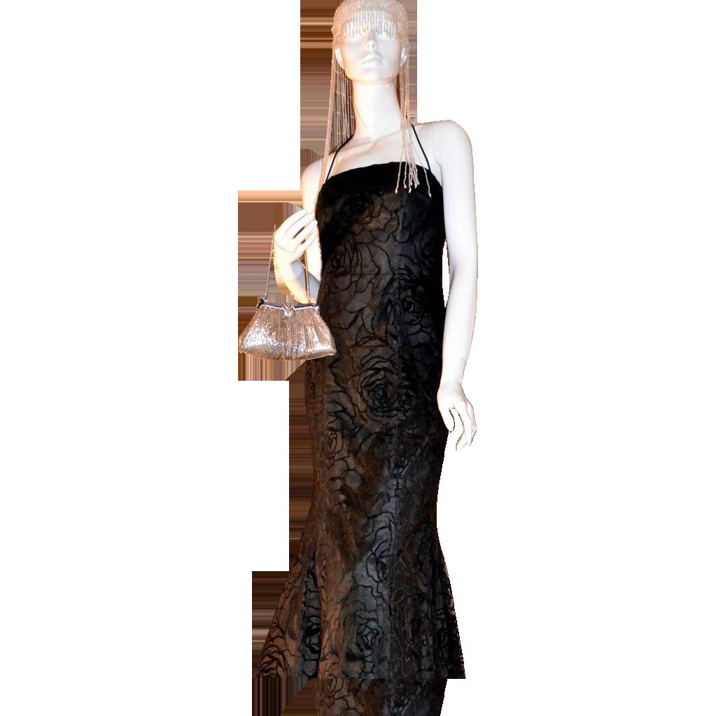 1980s Niki Livas ~ Black Rose Halter Dress