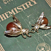 1950s Faux Copper Pearl Fly Rhinestone Scatter Pins