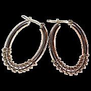 SALE Sterling Silver Twisted Spiral Hoop Earrings