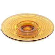 1970s Amber Glass Cake Plate w/ Pedestal Stand
