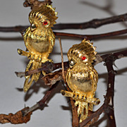Signed JJ ~ Pair of Red Rhinestone-Eyed Parrot Pins