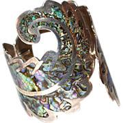 Los Ballesteros ~ Abalone Inlay Scrollwork Sterling Cuff Bracelet