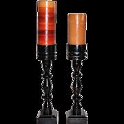 SALE 1970s Set of 2 Tall & Chippy Folk Art Wood Candleholders