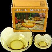 1970s Anchor Hocking ~ Honey Gold Glass Chip N' Dip Set w/ Orig Box