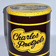 SALE PENDING Charles Pretzels ~ Large Advertising Tin Can
