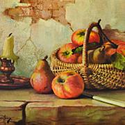 1950/60s Winde ~ Still Life w/ Apples Hardboard Art Print