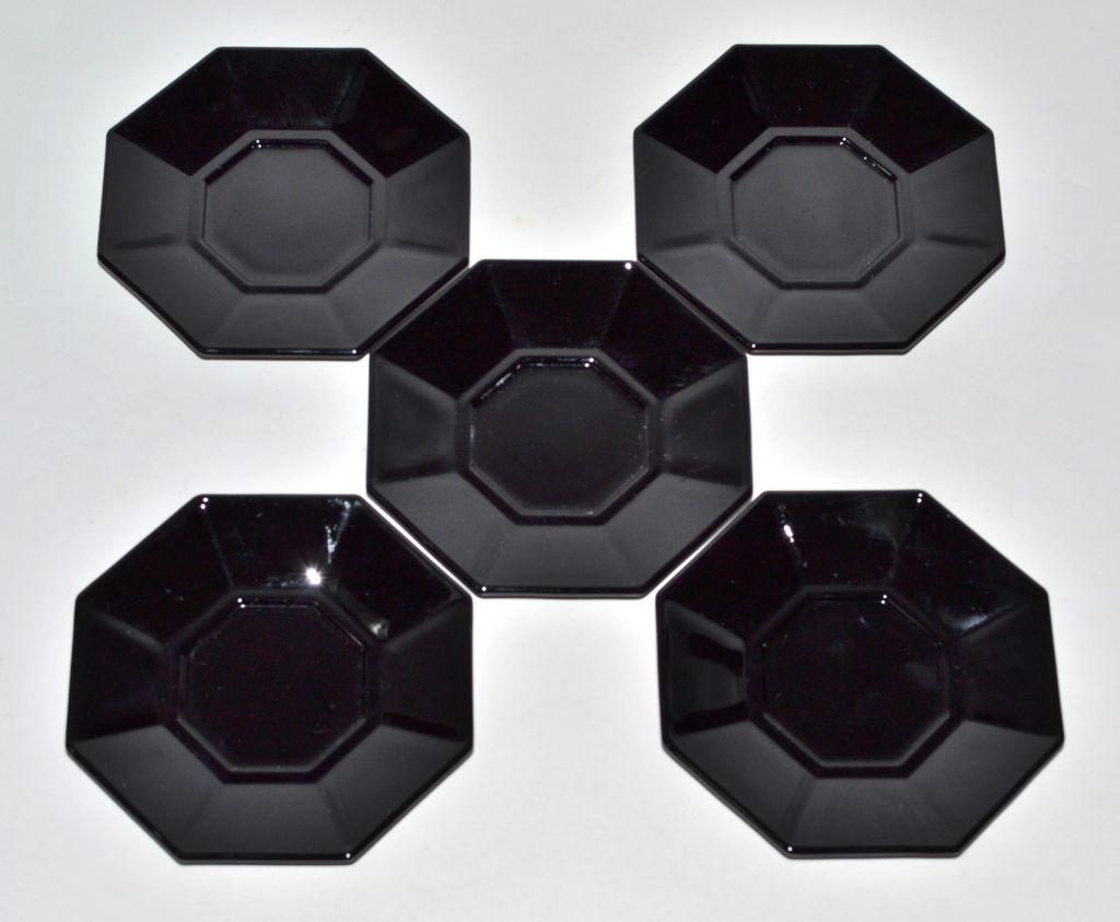 Arcoroc ~ 5-Pc Black Glass Octime Demitasse Saucer Set