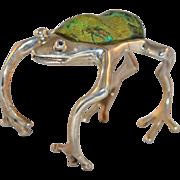 105G Sterling Silver & Malachite Frog Cuff Bracelet