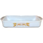 SALE Fire-King Wheat Pattern White Milk Glass Casserole Pan / Baking Dish