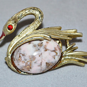 Red Rhinestone & Crackled Jelly Belly Swan Pin