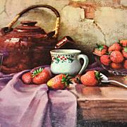 1950/60s Winde ~ Strawberries & Teapot Still Life Art Print
