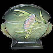 1945 Roseville Pottery ~ Freesia Green Fan Vase/Planter