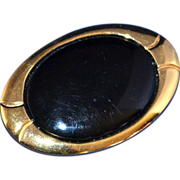 Napier ~ Large Black Oval Goldtone Brooch/Pin