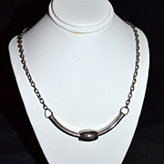 1970s Curved Hex-Key Pendant Silvertone Necklace
