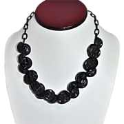 Chunky Carved Black Button Bead Necklace