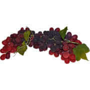 """SALE Amazing 15"""" Long Cluster of Naturalistic Artificial Red & Purple Grapes"""