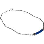 1970s Sarah Coventry ~ Faux Lapis Lazuli Silvertone Necklace