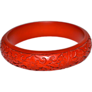 Carved Red Cinnabar Bangle Bracelet