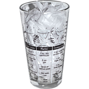 Libbey Tumbler Glass w/ Cocktail Recipes & Measurements