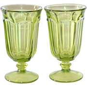 Libbey Duratuff Gibraltar ~ Set of 2 LIME Green Water or Iced Tea Goblet Glasses