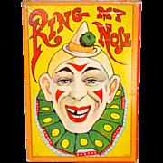 SALE Circa 1900s Milton Bradley 'Ring My Nose' Ring Toss Game w/ Box