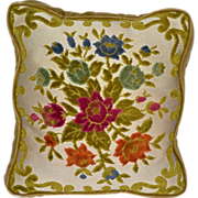 Aubusson Style Tapestry Chenille Rose Pillow