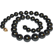 14K Gold Clasp Faux Black Tahitian Graduated Pearl Necklace