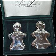 Godinger Silver Plated Gingerbread Boy & Girl Salt/Pepper Shaker in Presentation Box