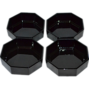 Set of 4 Arcoroc Octime Black Glass Octagonal Bowls