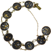 Japanese Damascene 24K Gold & Silver Inlay Oxidized Black Round Link Bracelet