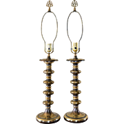 Moody Pair of Burnished Brass Spindle Lamps w/ Finials