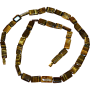 "SALE Genuine 22"" Polished Tiger Eye Stone Necklace"