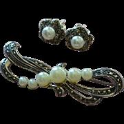 SALE Sterling Silver Marcasite & Pearl Bow Pin/Brooch & Earrings Set