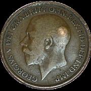 SALE Circa 1915 GEORGIVS V DEI GRA BRITT OMN REX FID DEF IND IMP One Penny