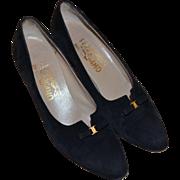 SALE Salvatore Ferragamo Designer Black Suede Leather Bow Classic Pumps / Heels