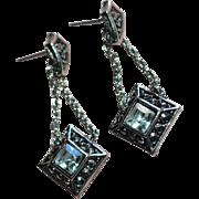 SALE Avon Signed Rhinestone Drop Silvertone Rope Chain Earrings