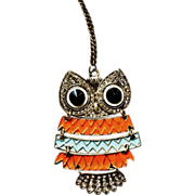 Vintage Articulated Owl Pendant