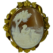 Large carved signed Cameo Brooch