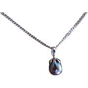 Drop shaped Black Pearl Necklace