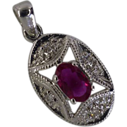 White Gold Ruby & Diamond Pendent