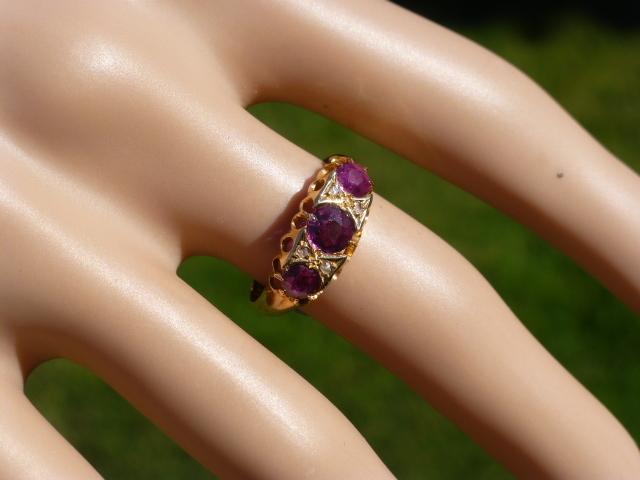 1915 English Ruby & Diamond 18k Ring