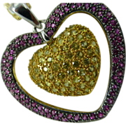 Ruby & Citrine 18k Heart Pendent with Chain